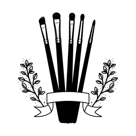 makeup brushes on white background vector illustration design Ilustração