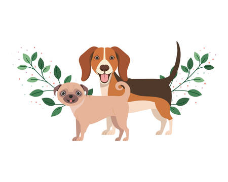 cute and adorable dogs on white background vector illustration design Фото со стока - 129749481
