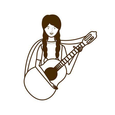 silhouette of woman with acoustic guitar on white background vector illustration design