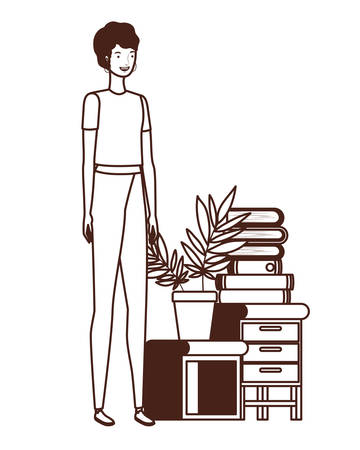 silhouette of woman with bookshelf of wooden and books vector illustration design