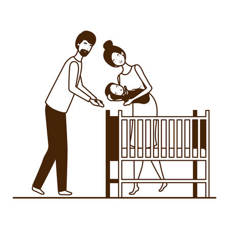 Mother and father with baby design, Child newborn childhood kid innocence and little theme Vector illustration