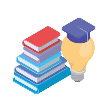 stack of books and light bulb on white background vector illustration design