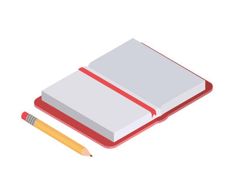 book of school with pencil on white background vector illustration design
