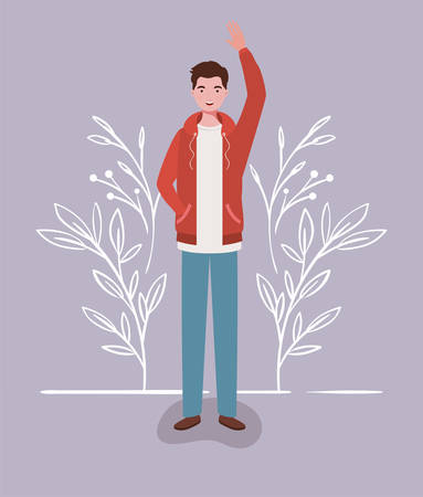young and casual man character vector illustration design 일러스트