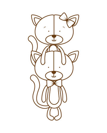 silhouette of cute couple of cats on white background vector illustration design