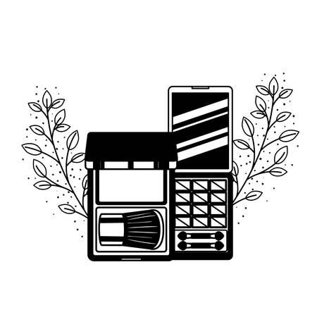 Lidschattenpalette auf weißem Hintergrundvektorillustrationsdesign illustration Vektorgrafik