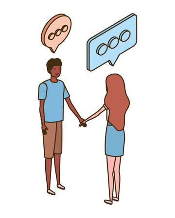 couple of people standing with speech bubble on white background vector illustration design Çizim