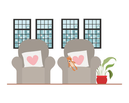 Chair design, seat furniture interior home comfortable style and object theme Vector illustration
