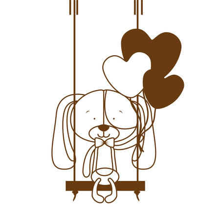 silhouette of cute puppy with helium balloons vector illustration design