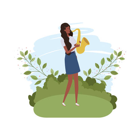 woman with saxophone and branches and leaves in the background vector illustration design Иллюстрация