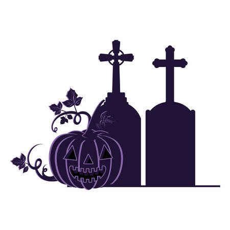 halloween pumpkin with scary face and graveyard tombstone vector illustration design