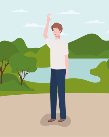 young and casual man in the camp character vector illustration design 일러스트