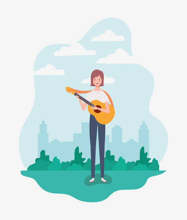 woman playing acoustic guitar character vector illustration design