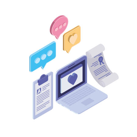set of icons with laptop on white background vector illustration design