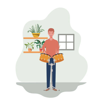 young man with timpani and houseplants of background vector illustration design