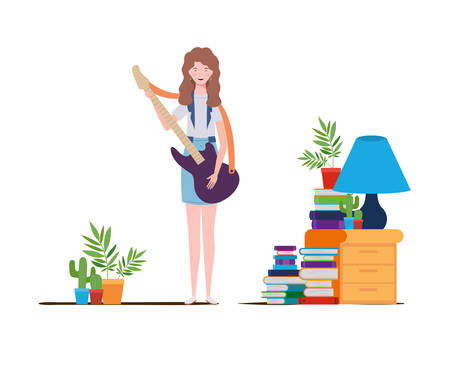 young woman with electric guitar on white background vector illustration design Stock Vector - 129830703