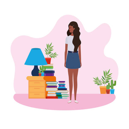 woman standing in the living room with books vector illustration design