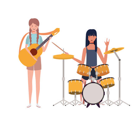 women with musicals instruments on white background vector illustration design Иллюстрация
