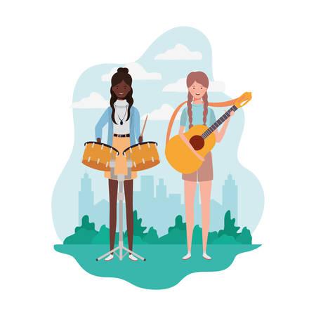 women with musical instruments and background landscape vector illustration design Ilustração