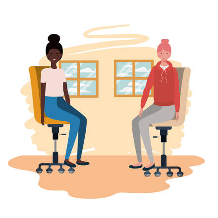 women in living room sitting in office chair vector illustration design