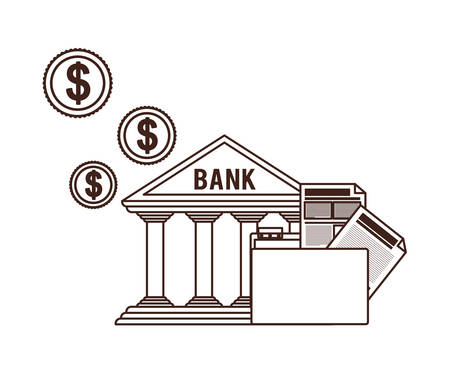 bank finance building in white background vector illustration design