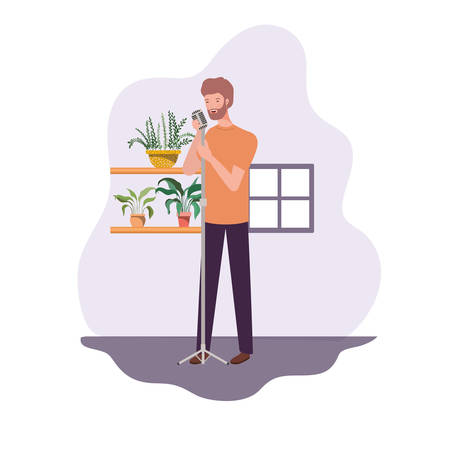 young man with microphone and houseplants of background vector illustration design Illustration
