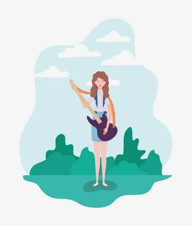 woman playing electric guitar instrument character vector illustration design Çizim