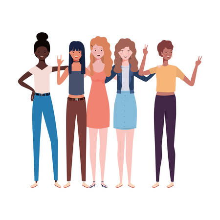 young women standing on white background vector illustration design