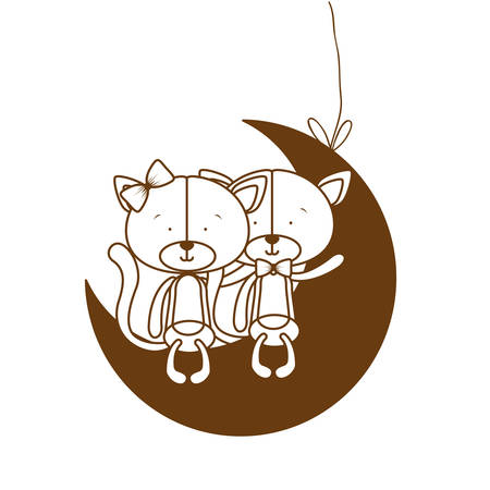 silhouette of cute cats sitting on the moon vector illustration design