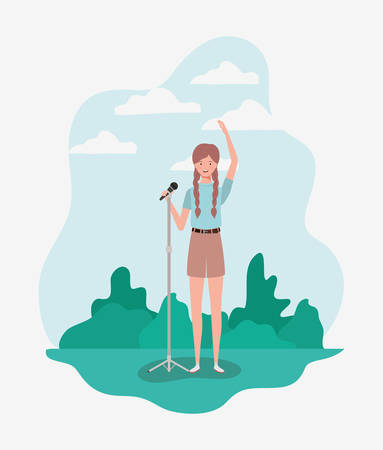 woman singing with microphone character vector illustration design Çizim