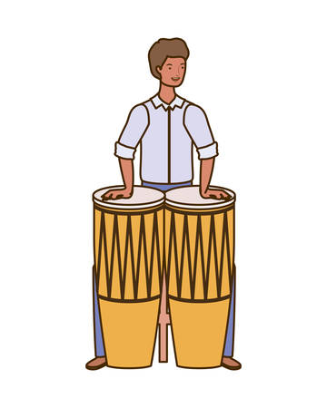silhouette of man with congas on white background vector illustration design Banque d'images - 129771942