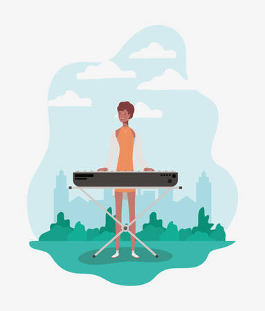 afro woman playing piano character vector illustration design