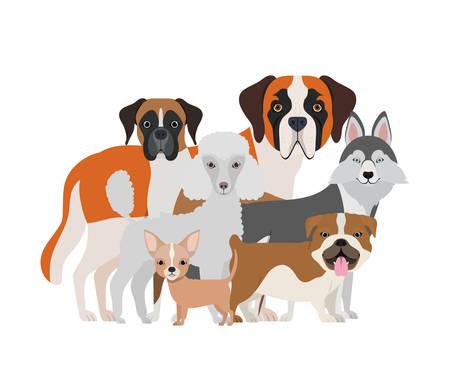 set of adorable dogs on white background vector illustration design Ilustração