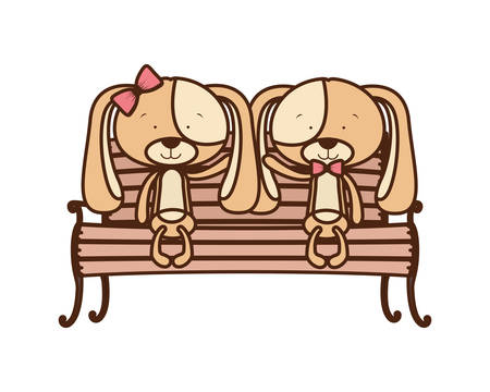 cute couple of dogs sitting on park chair vector illustration design  イラスト・ベクター素材