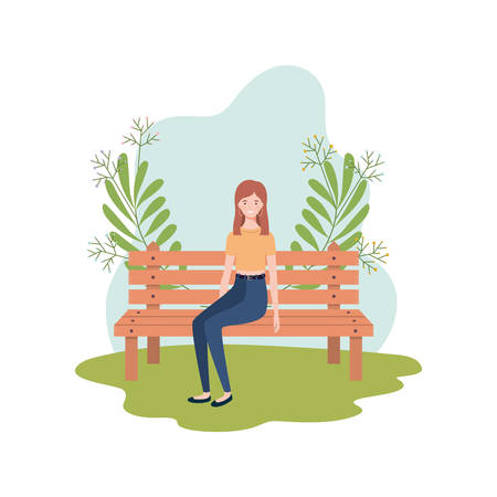 woman sitting in park chair with background landscape vector illustration design