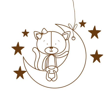 silhouette of cute cat sitting on the moon vector illustration design Illusztráció