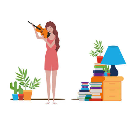 young woman with fiddle on white background vector illustration design Фото со стока - 129853272