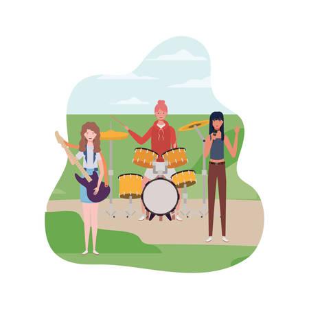 women with musical instruments and background landscape vector illustration design Çizim