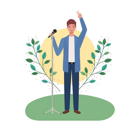 man with microphone and branches and leaves in the background vector illustration design  イラスト・ベクター素材
