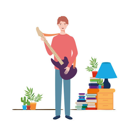 young man with electric guitar in living room vector illustration design