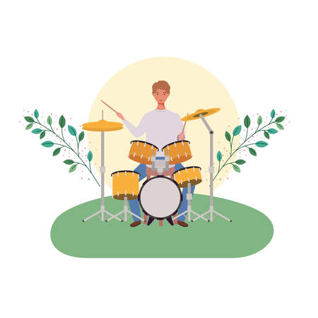 man with drum kit and branches and leaves in the background vector illustration design