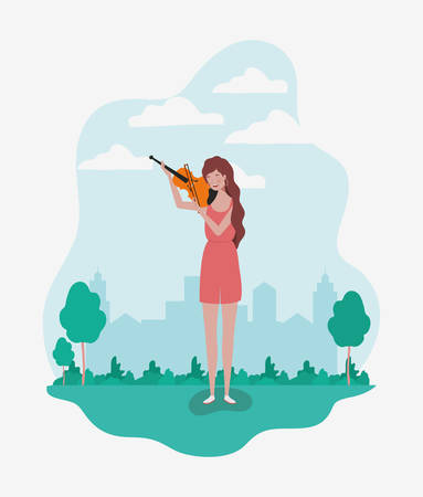 woman playing fiddle instrument character vector illustration design