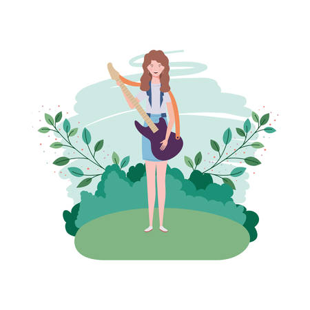 woman with electric guitar and branches and leaves in the background vector illustration design Иллюстрация