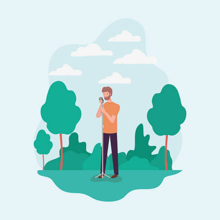 man singing with microphone character vector illustration design