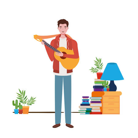 man with acoustic guitar oin living room vector illustration design Çizim