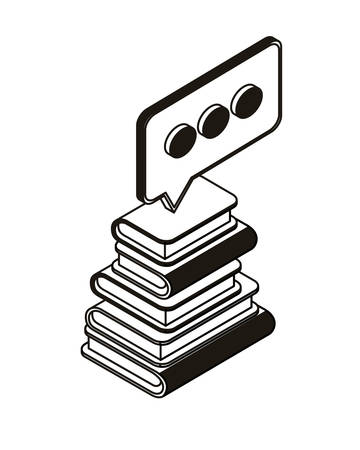 stack of books with speech bubble on white background vector illustration design Illusztráció