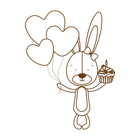 silhouette of cute bunny with cake in the hand vector illustration design