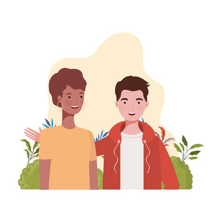 couple of people with landscape background vector illustration design