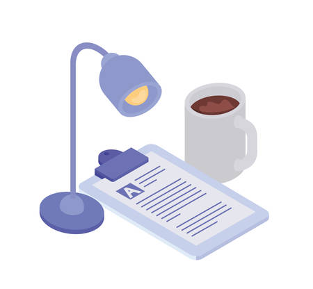 curriculum vitae with office lamp on white background vector illustration design