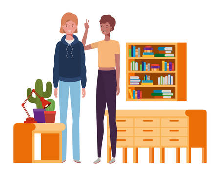women standing with bookshelf of wooden and books vector illustration design Ilustrace